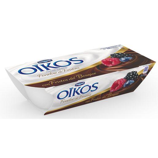 DANONE OIKOS yogur griego fondue de frutas del bosque pack 2 unidades 115 gr