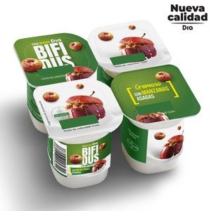 DIA BÍFIDUS cremoso con manzanas asadas pack 4 unidades 125 gr