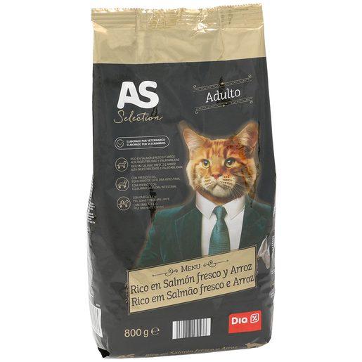 AS Selection alimento para gatos rico en salmón y arroz bolsa 800 gr
