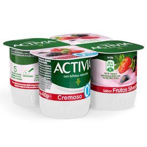 DANONE ACTIVIA bífidus cremoso de frutas silvestres 0% pack 4 unidades 100 gr