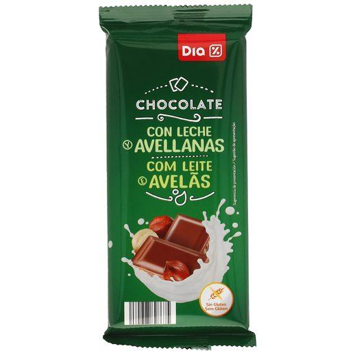DIA chocolate con leche y avellanas partidas tableta 150 gr