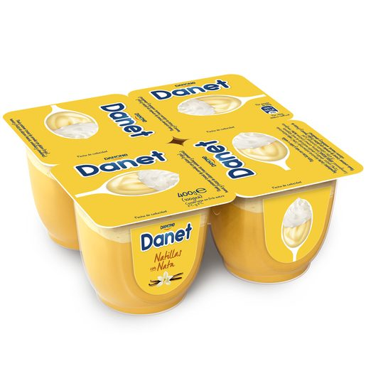 DANONE DANET sabor vainilla con nata pack 4 unidades 100 gr