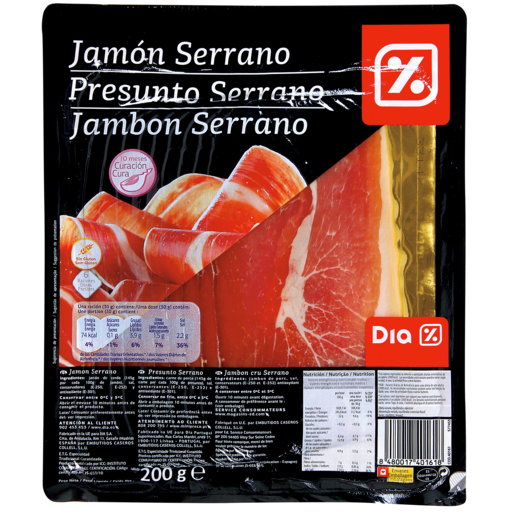 DIA jamón serrano lonchas sobre 200 g