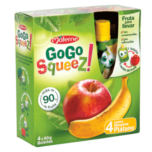 MATERNE gogo squeez fruta para llevar caja 360 gr (4 bolsas)