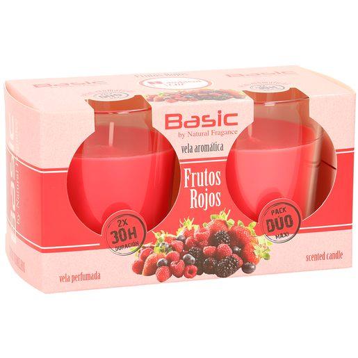 BASIC vela ambientador frutos rojos pack 2 uds
