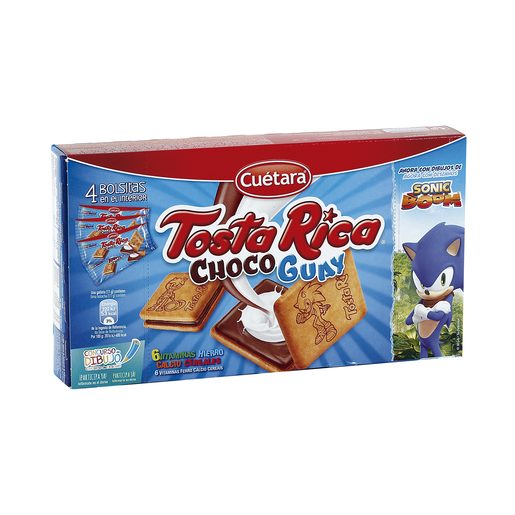 CUETARA TostaRica Choco Guay galletas rellenas de chocolate y crema caja 168 gr