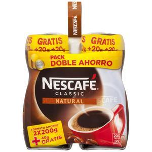 NESCAFE pack café soluble natural frasco 2 x 200 gr