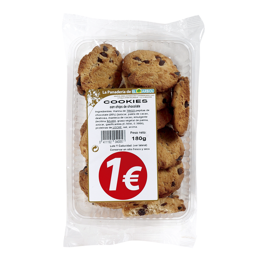 ASINEZ galletas cookies con chips de chocolate paquete 180 gr
