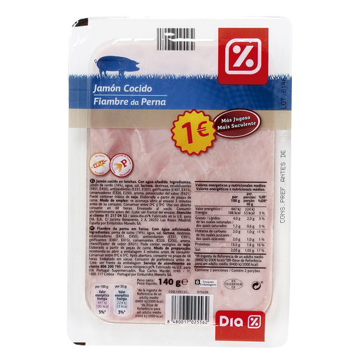 DIA jamón cocido extra jugo sobre 140 gr