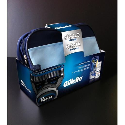 GILLETTE pack maquinilla de afeitar proglide + gel de afeitar neceser 1 ud