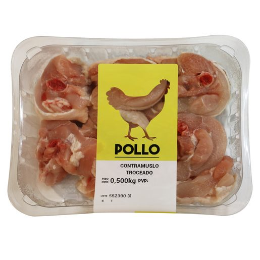 Contramuslo de pollo troceado bandeja 500 gr