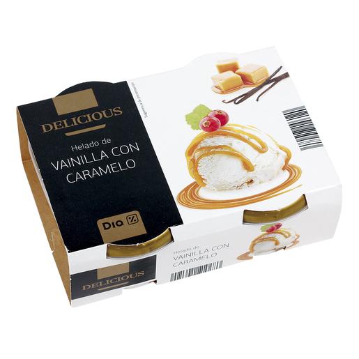 DIA DELICIOUS helado de vainilla con caramelo  pack 2 tarrinas 157 gr