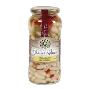 VIUDA DE GAROZ alubias blancas cocidas con verduras frasco 580 gr