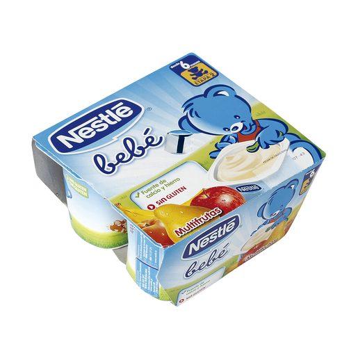 NESTLE yogur bebé multifrutas pack 4 unidades 100 gr