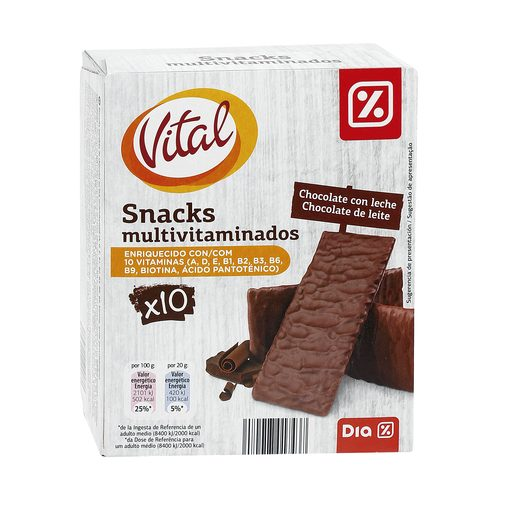 DIA VITAL snack bañado en chocolate con leche multivitaminado caja 200 gr