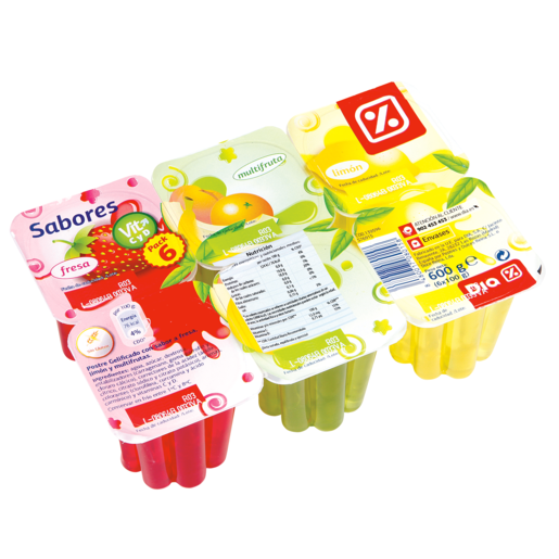 DIA postre gelificado de fresa, limón y multifrutas pack 6 unidades 100 gr