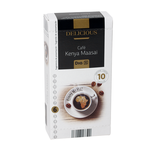 DIA DELICIOUS café kenya maasai 10 cápsulas caja 52 gr