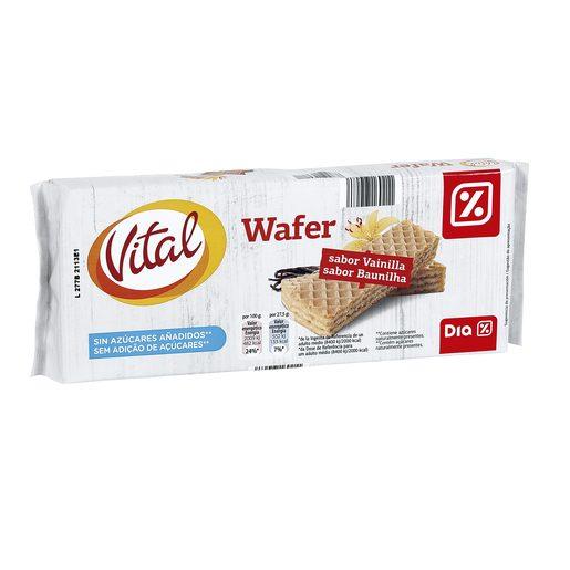 DIA VITAL barquillo relleno sabor vainilla sin azúcares añadidos paquete 220 gr
