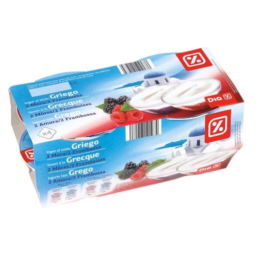 DIA yogur griego con moras / frambueas pack 4 unidades 125 g