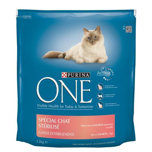 PURINA ONE alimento para gatos estirilizados sabor salmon bolsa 1.5 kg
