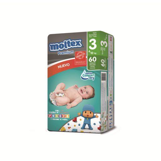 MOLTEX Premium pañales 4-10 kgs talla 3 paquete 60 uds