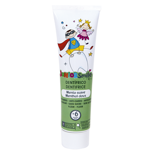 JUNIORSMILE pasta dentífrica suave sabor menta para niños tubo 100 ml