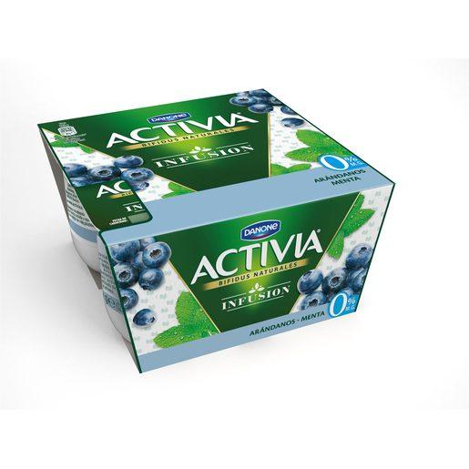 DANONE ACTIVIA bífidus infusión arándanos y menta 0% M.G pack 4 unidades 120 gr