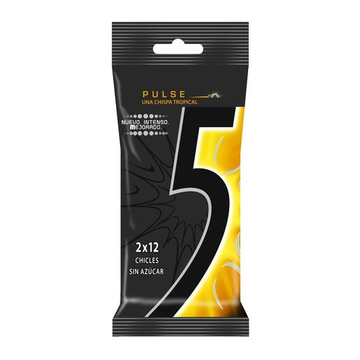FIVE chicle pulse sabor tropical paquete 2 uds