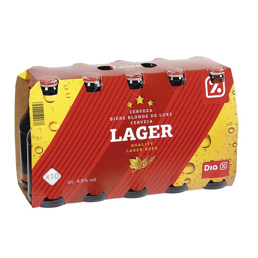 DIA cerveza rubia nacional lager pack 10 botellas 25 cl