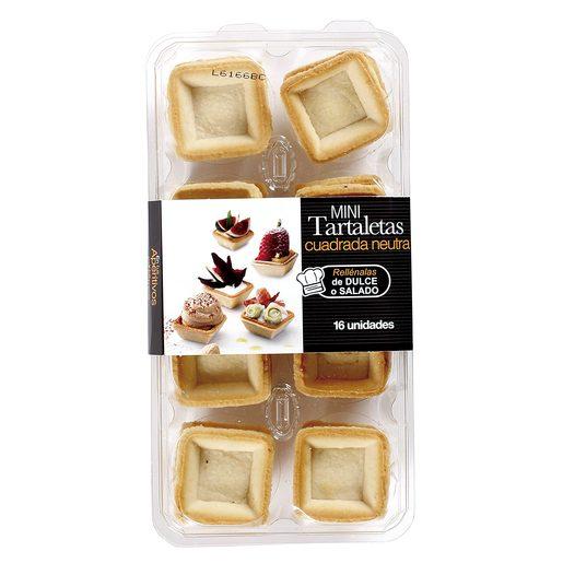 Tartaletas mini cuadradas bandeja 16 uds