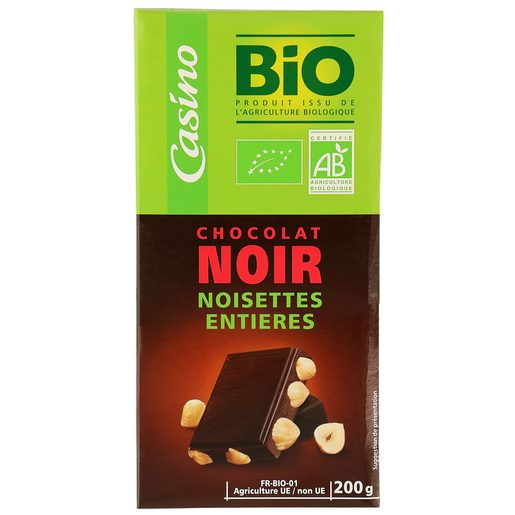 CASINO BIO chocolate negro con avellanas tableta 200 gr