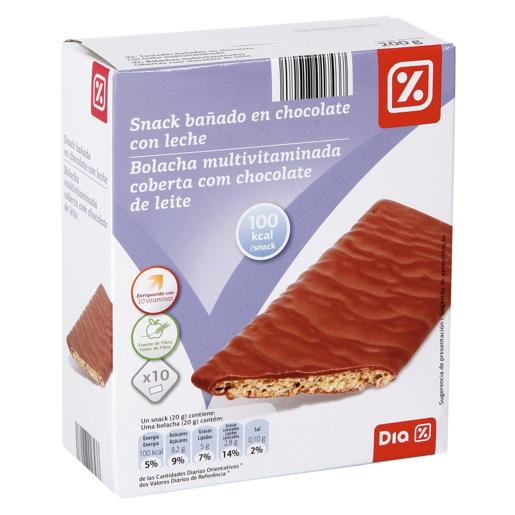 DIA snack bañado de chocolate con leche caja 200 gr