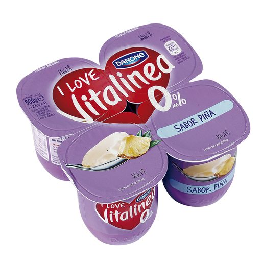 DANONE VITALINEA yogur desnatado sabor piña pack 4 unidades 125 gr