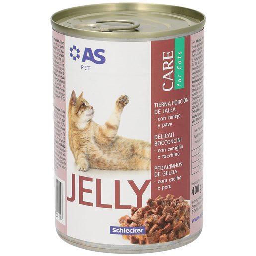 AS alimento para gatos en gelatina conejo/pavo lata 400 gr