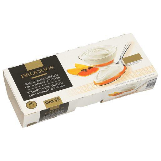 DIA DELICIOUS yogur al estilo griego con mango y papaya pack 2 unidades 125 gr