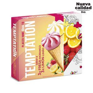 DIA TEMPTATION helado cono sabor fresa y limón caja 6 uds 408 gr