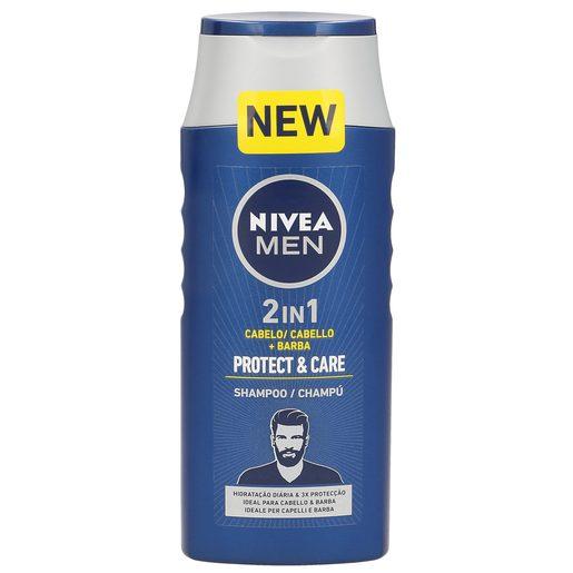 NIVEA Men champú 2 en 1 protect & care cabello + barba bote 250 ml