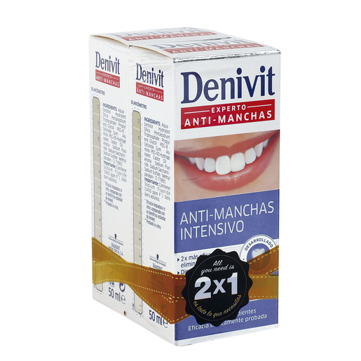 DENIVIT pasta dentífrica antimanchas tubo 2 x 50 ml