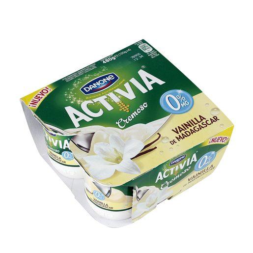 DANONE ACTIVIA yogur cremoso sabor vainilla 0% M.G. pack 4 unidades 125 gr