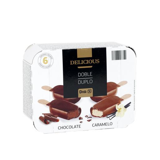 DIA DELICIOUS helado bombón doble chocolate/caramelo caja 6 uds 240 gr