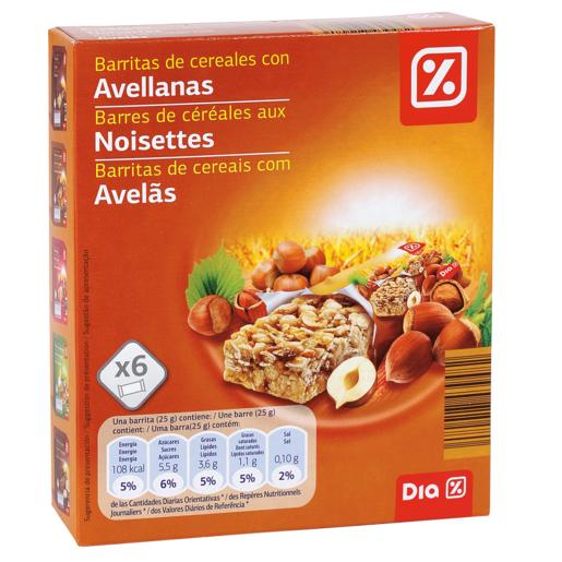 DIA barritas de cereales muesli con avellana estuche 150 gr