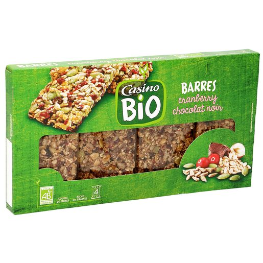 CASINO BIO barritas de semillas con chocolate negro y arándanos caja 140 gr