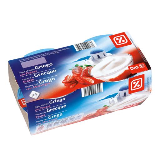DIA yogur griego con fresas pack 4 unidades 125 gr