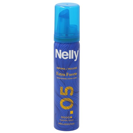 NELLY espuma antiencrespamiento fijación extrafuerte formato viaje spray 75 ml