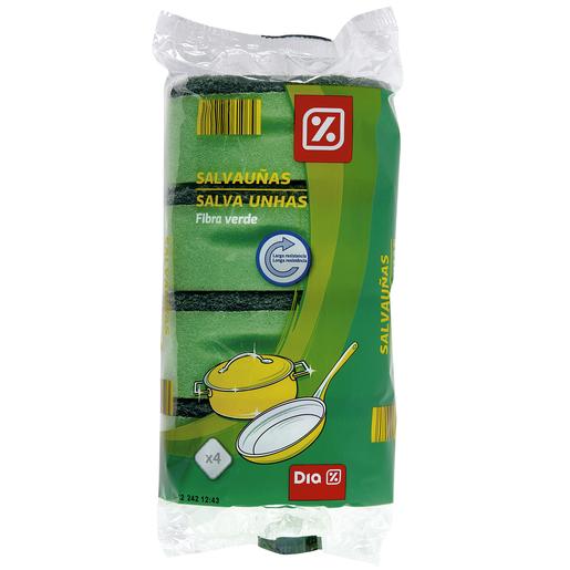 DIA estropajo salvauñas fibra verde paquete 4 uds