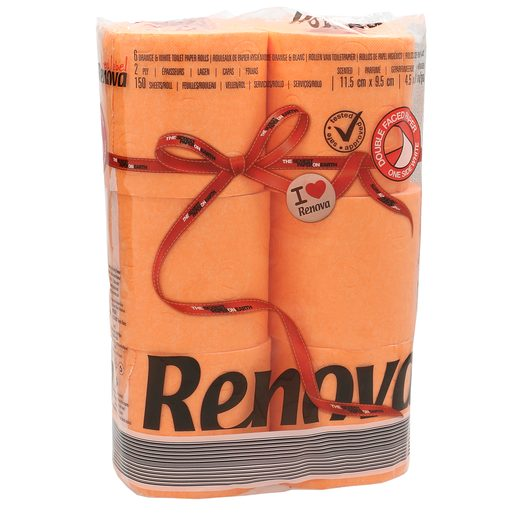 RENOVA papel higiénico naranja 2 capas paquete 6 uds