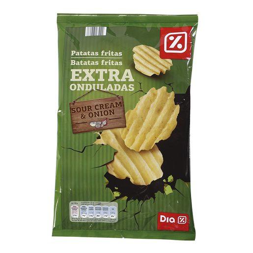 DIA patatas fritas extra onduladas sabor nata y cebolla bolsa 147 gr