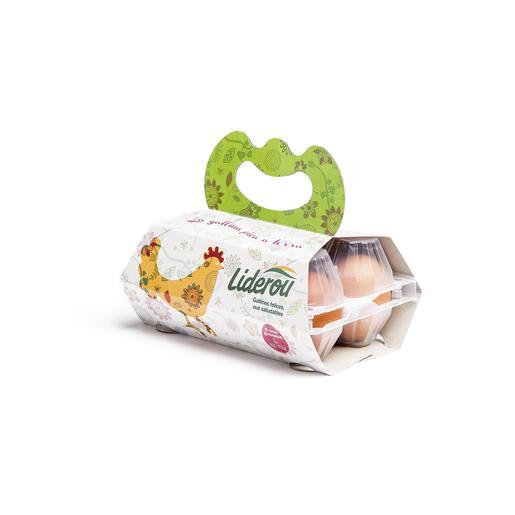 LIDEROU huevos frescos clase L estuche 6 uds