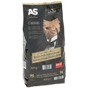 AS Selection alimento para gatos rico en pollo y arroz bolsa 800 gr