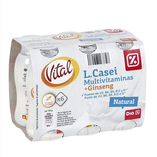 DIA VITAL yogur líquido natural pack 6 unidades 100 gr